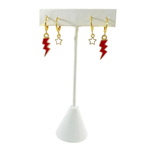 University of Arkansas Game Day Set with Red Mini Enamel Bolts with White Baby Stars on Stand