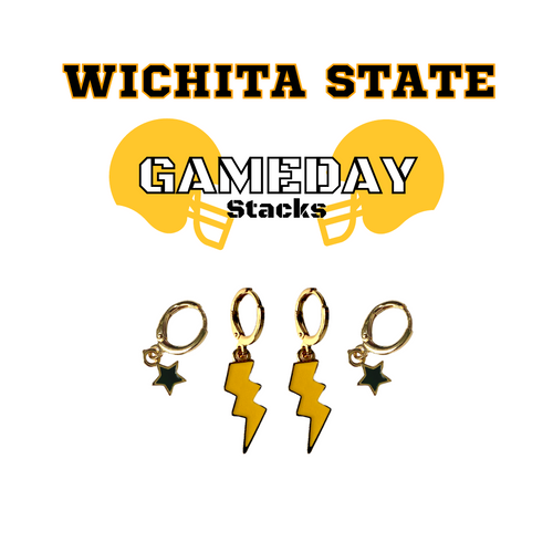 Wichita State University Game Day Set with Golden Yellow Mini Enamel Bolts with Black Baby Stars on Stand