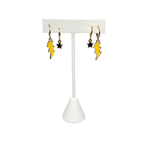 Yellow Mini Enamel Bolts with Black Baby Stars on Stand