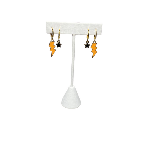 Orange Mini Enamel Bolts and White Baby Stars on Stand