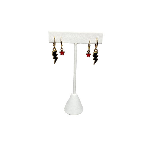 Black Mini Enamel Bolts and Red Baby Stars on Stand
