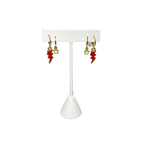 Red Mini Enamel Bolts and Yellow Baby Stars on Stand