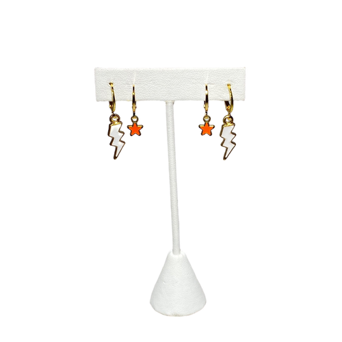 Tennessee gameday stack - White Mini Enamel Bolts with Orange Baby Stars on Stand