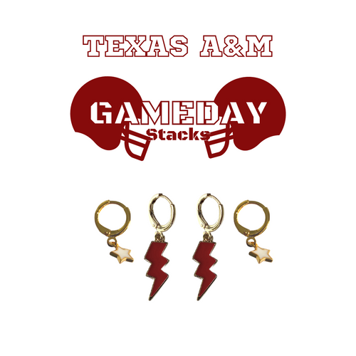 Texas A&M Gameday Stack - Maroon Mini Enamel Bolts and White Baby Stars