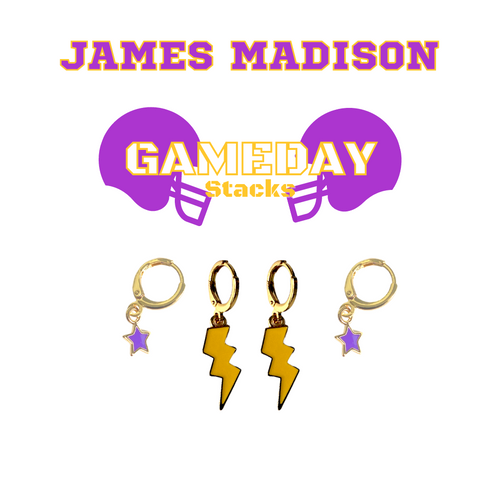 James Madison University Game Day Set with Golden Yellow Mini Enamel Bolts with Purple Baby Stars on Stand