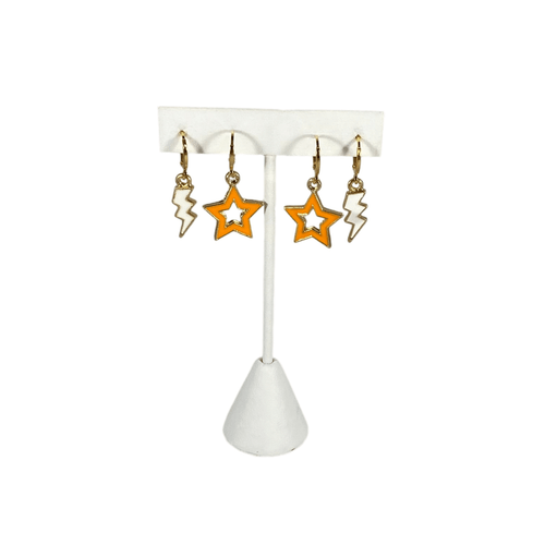 Statement Open Starboys in Orange with Huggie Hoops with White Mini Enamel Bolts on Stand