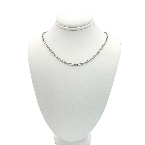 Simple Chain Link Necklace in Silver