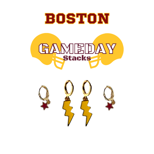 Boston College Game Day Set with Golden Yellow Mini Enamel Bolts with Maroon Baby Stars on Stand