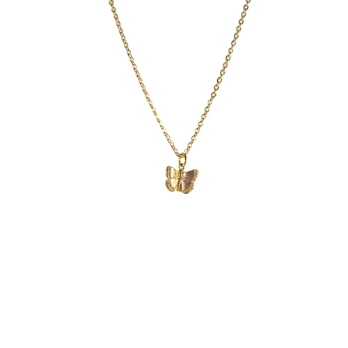 Dainty Cable Chain with Mini Gold Butterfly Charm