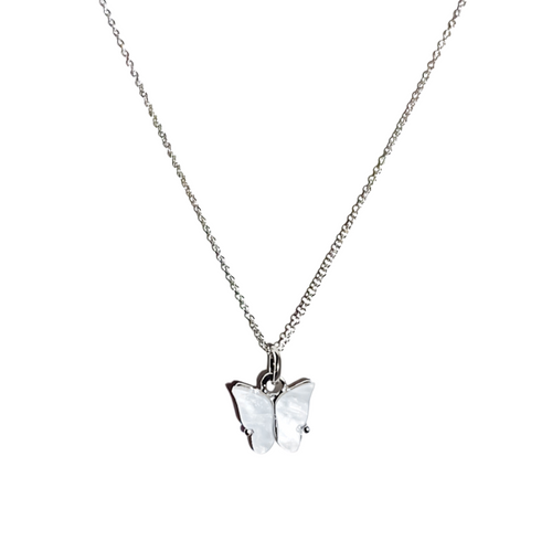 Silver Pearly Butterfly  Dainty Necklace in White
