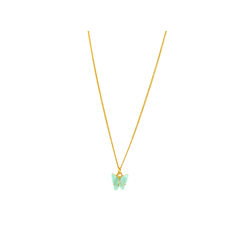 Gold Pearly Butterfly Necklace in Teal