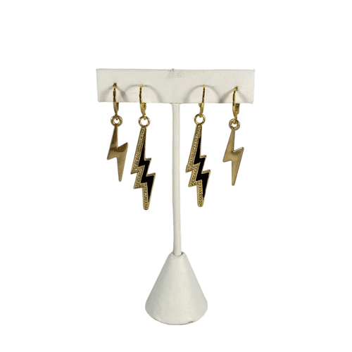 Gold Classic Bolts with Black Glitzy Bolts on Stand