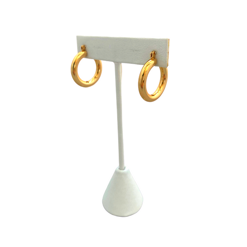 SBS Exclusive 14K Gold Tube Hoops on Stand