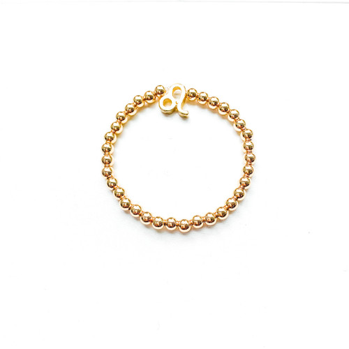 Leo Sign Gold 5mm Beaded Bracelet