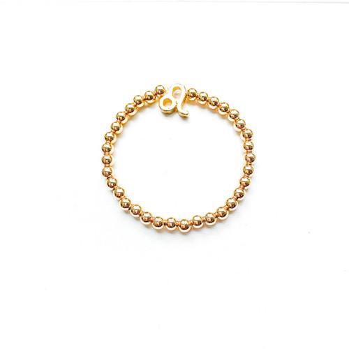 Leo Sign Gold 5mm Beaded Bracelet