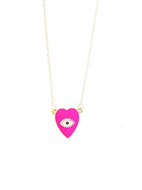 Evil Eye Love Necklace Hot Pink