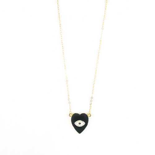 Evil Eye Love Necklace Black