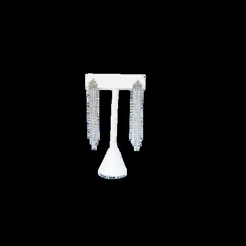 Glitzy Tassel Fringe Earrings in Silver on stand