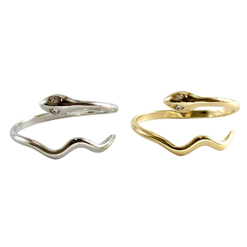 Pair of Classic Snake Ring in Silver and Gold