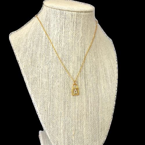 Custom Initial Glitzy Lock Necklace- A