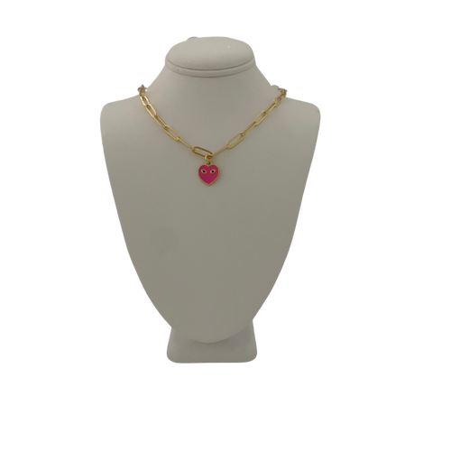 SBS Exclusive Mini Eye Heart You Chain Link Necklace in Barbie Pink
