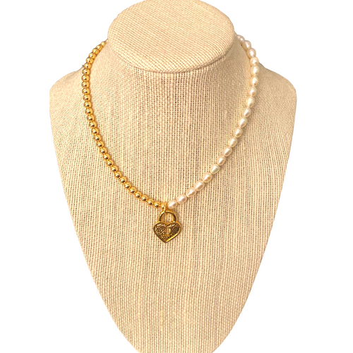 Heart Lock Half Gold and Half Pearl Necklace