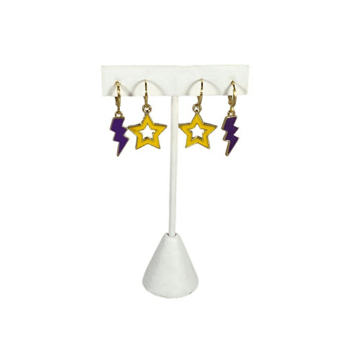 Elmira College Soaring Eagles Spirit Stack - Purple Mini Enamel Bolts and Golden Yellow Statement Open Starboys on Stand