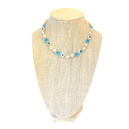 Eyes on Blue Necklace  on Stand