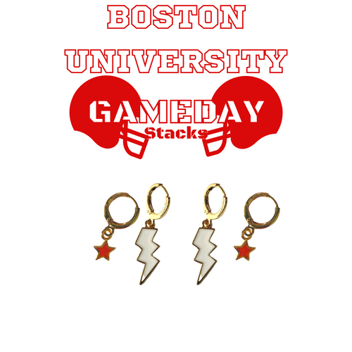 Boston University Game Day Set with White Mini Enamel Bolts with Red Baby Stars on Stand
