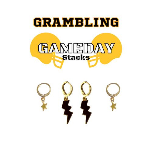 Grambling State University Game Day Set with Black Mini Enamel Bolts with Golden Yellow Baby Stars on Stand