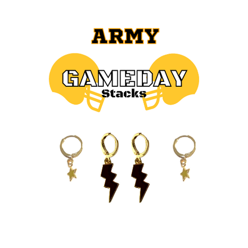 United States Military Academy Game Day Set with Black Mini Enamel Bolts with Golden Yellow Baby Stars on Stand