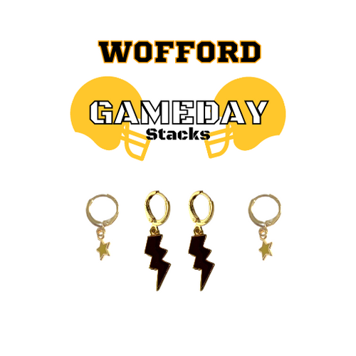 Wofford College Game Day Set with Black Mini Enamel Bolts with Golden Yellow Baby Stars on Stand