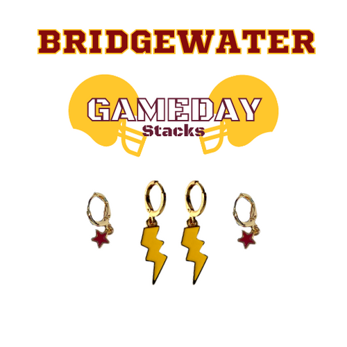 Bridgewater College Game Day Set with Golden Yellow Mini Enamel Bolts with Maroon Baby Stars on Stand