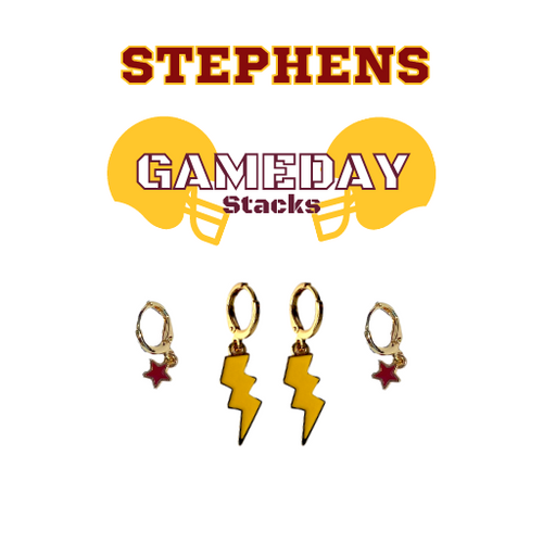 Stephens College Game Day Set with Golden Yellow Mini Enamel Bolts with Maroon Baby Stars on Stand