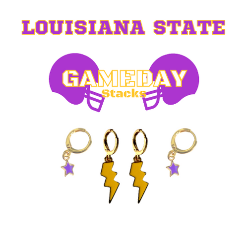 Louisiana State University Game Day Set with Golden Yellow Mini Enamel Bolts with Purple Baby Stars on Stand