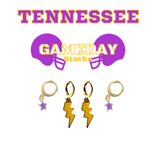 Tennessee Technological University Game Day Set with Golden Yellow Mini Enamel Bolts with Purple Baby Stars on Stand
