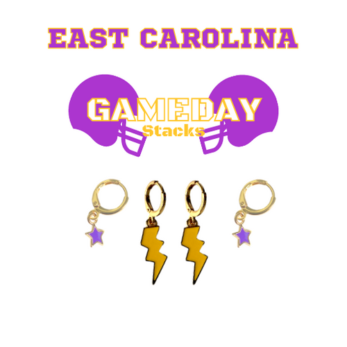 East Carolina University Game Day Set with Golden Yellow Mini Enamel Bolts with Purple Baby Stars on Stand