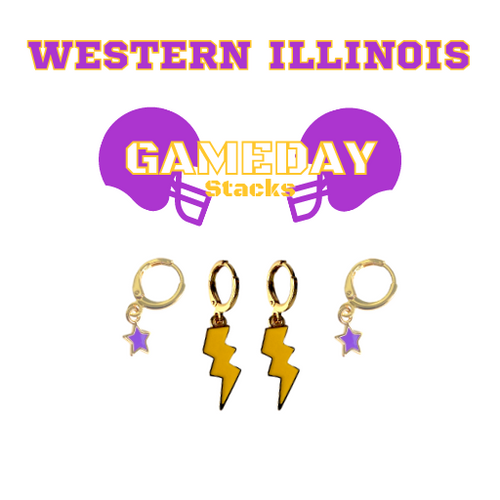 Western Illinois University Game Day Set with Golden Yellow Mini Enamel Bolts with Purple Baby Stars on Stand