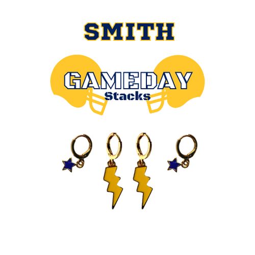 Smith College Game Day Set with Golden Yellow Mini Enamel Bolts with Navy Baby Stars on Stand
