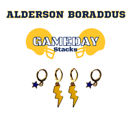 Alderson Broaddus University Game Day Set with Golden Yellow Mini Enamel Bolts with Navy Baby Stars on Stand