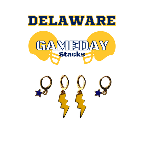 University of Delaware Game Day Set with Golden Yellow Mini Enamel Bolts with Navy Baby Stars on Stand