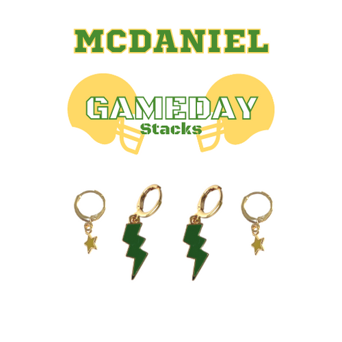 McDaniel College Game Day Set with Green Mini Enamel Bolts with Golden Yellow Baby Stars on Stand