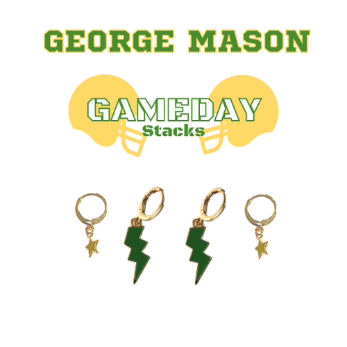 George Mason University Game Day Set with Green Mini Enamel Bolts with Golden Yellow Baby Stars on Stand