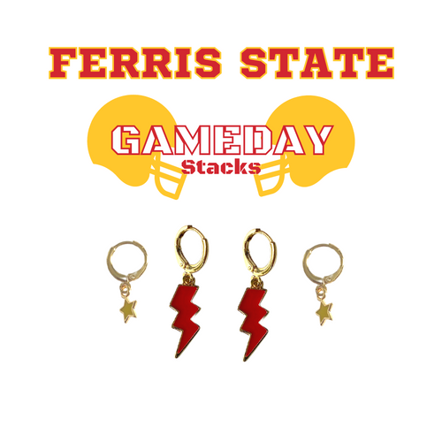 Ferris State University Game Day Set with Red Mini Enamel Bolts with Golden Yellow Baby Stars on Stand