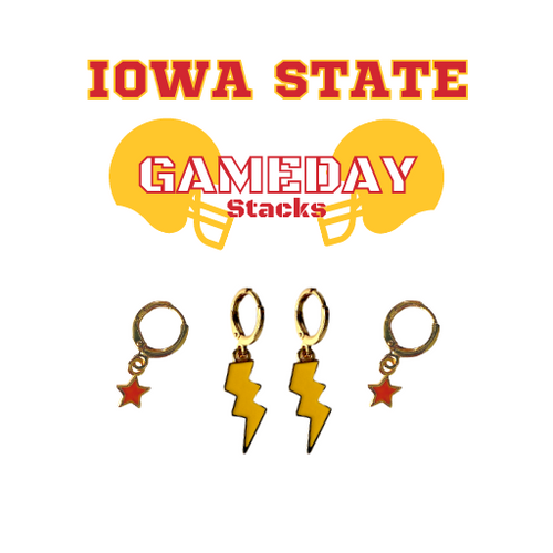 Iowa State University Game Day Set with Golden Yellow Mini Enamel Bolts with Red Baby Stars on Stand