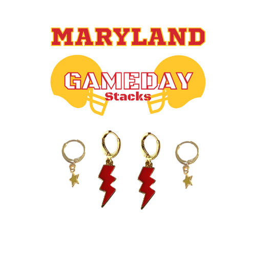 University of Maryland  Game Day Set with Red Mini Enamel Bolts with Golden Yellow Baby Stars on Stand