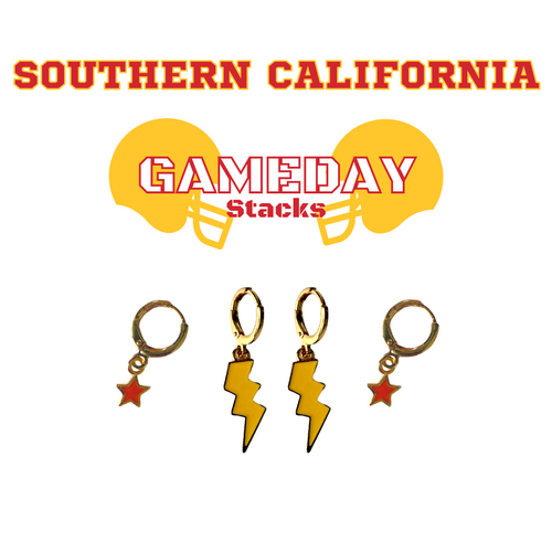 University of Southern California  Game Day Set with Golden Yellow Mini Enamel Bolts with Red Baby Stars on Stand