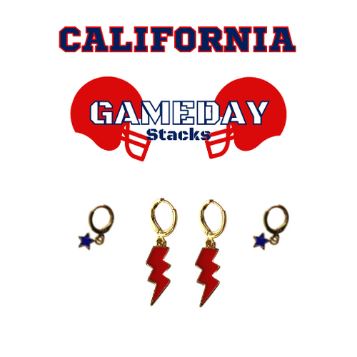 California State University, Fresno Game Day Set with Red Mini Enamel Bolts with Navy Baby Stars on Stand