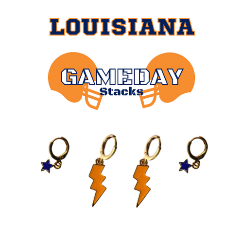 Louisiana College Game Day Set with Orange Mini Enamel Bolts with Navy Baby Stars on Stand