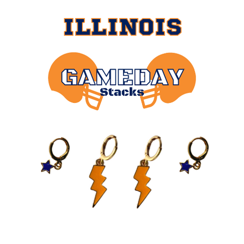 University of Illinois Game Day Set with Orange Mini Enamel Bolts with Navy Baby Stars on Stand